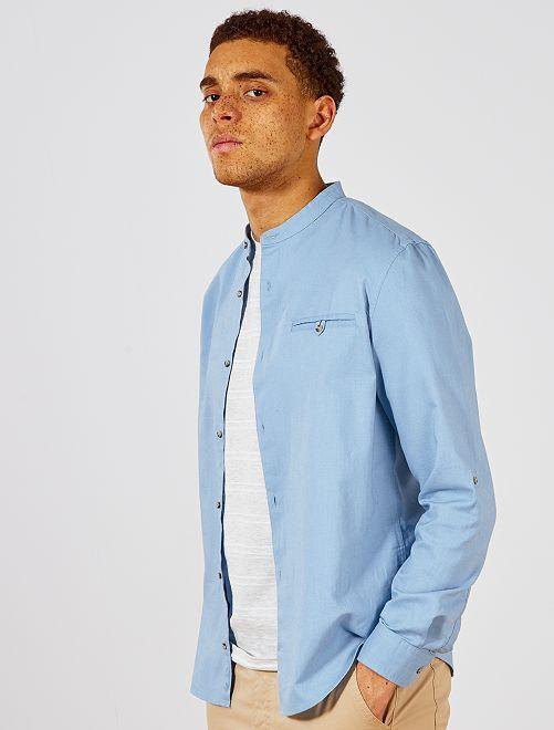 Chemise regular en coton et lin                                                         bleu gris pâle Homme