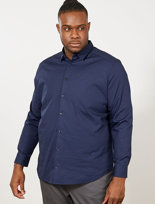 Chemise regular en coton stretch                     bleu marine Grande taille homme