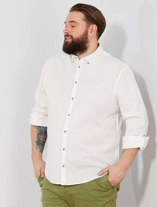 Chemise regular en lin et coton                                                     blanc Grande taille homme