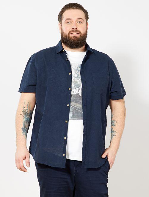 Chemise regular en lin et coton                                                     bleu marine Grande taille homme