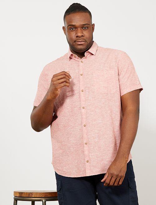 Chemise regular en lin et coton                                                     orange Grande taille homme