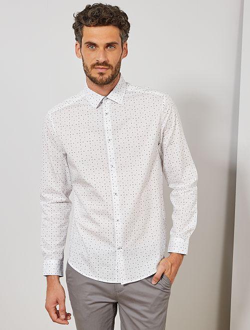 Chemise regular en popeline à micro-motif                                                                                                     blanc