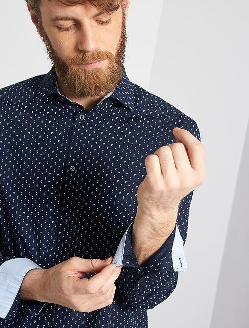 Chemise regular en popeline à micro-motif                                                                                                     bleu marine losanges