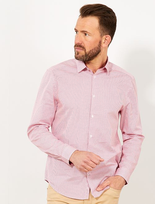 Chemise regular en popeline à micro-motif                                                                                                                                                     rose fleur Homme