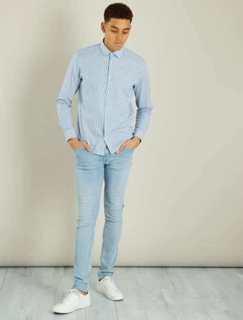 Chemise regular en popeline rayée                                                                                                                                                     bleu/blanc rayures Homme