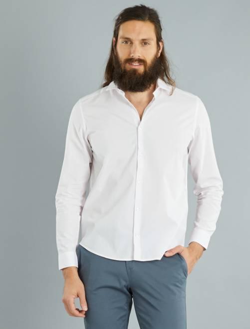 Chemise regular en popeline rayée                                                                                                     rose/blanc rayures Homme