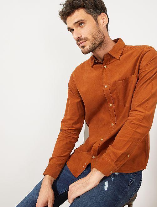 Chemise regular en velours côtelé                                         marron