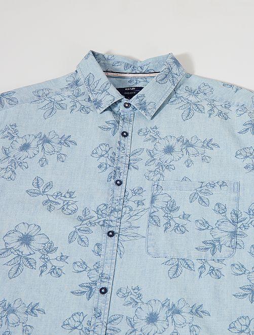 Chemise regular imprimé floral +1m90                             bleu gris pâle
