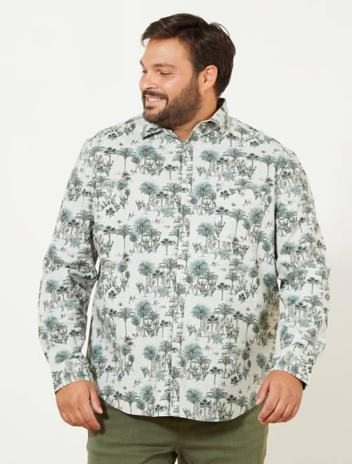 Chemise regular imprimé 'jungle'                             beige/vert Grande taille homme