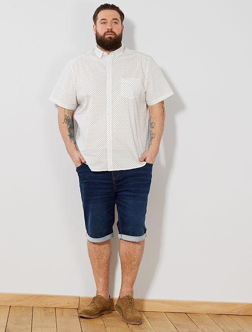 Chemise regular imprimée                                                                                                                                         blanc cassé/bleu marine Grande taille homme