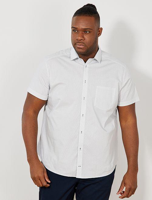 Chemise regular micro motif                             blanc Grande taille homme