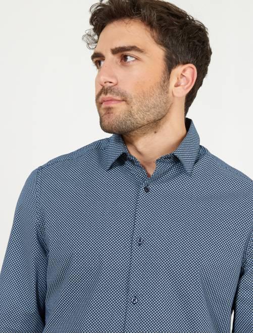Chemise regular popeline à fines rayures                                                                                                                                         bleu marine/bleu ciel