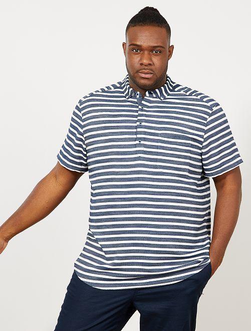 Chemise regular rayée                             bleu marine/blanc