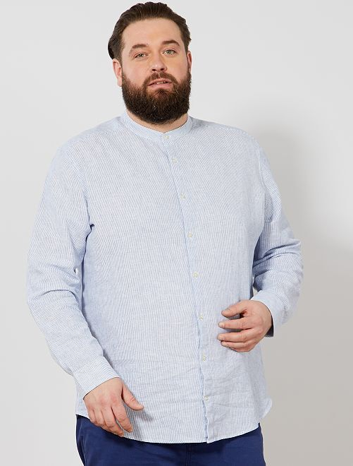 Chemise regular rayée col mao                             bleu/blanc Grande taille homme