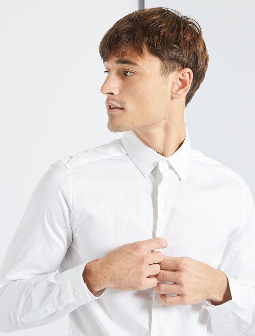 Chemise satinée                                                     blanc