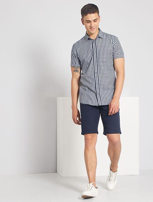 Chemise slim à carreaux                                                                                                                                         blanc/bleu marine carreaux
