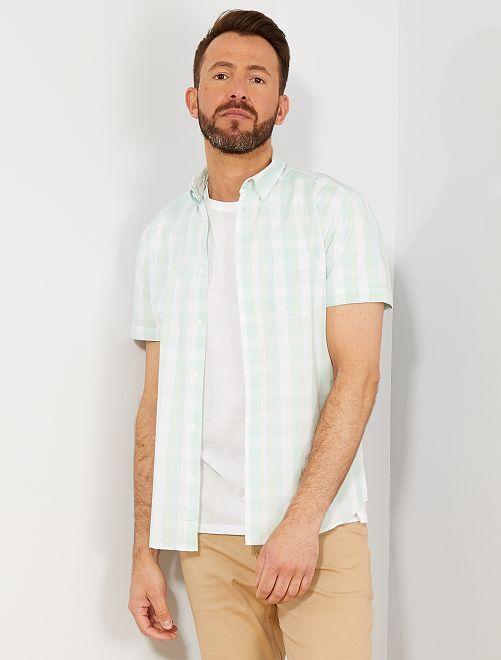 Chemise slim à carreaux                                                                                                                                                                                                                             vert pâle/blanc