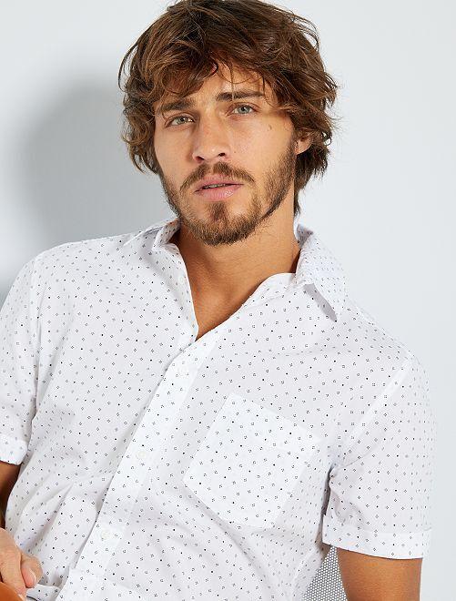 Chemise slim à micro motif                                                                                                                                         blanc mini
