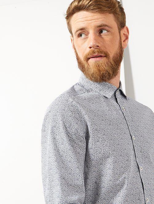 Chemise slim à micro motif                                         blanc/bleu marine