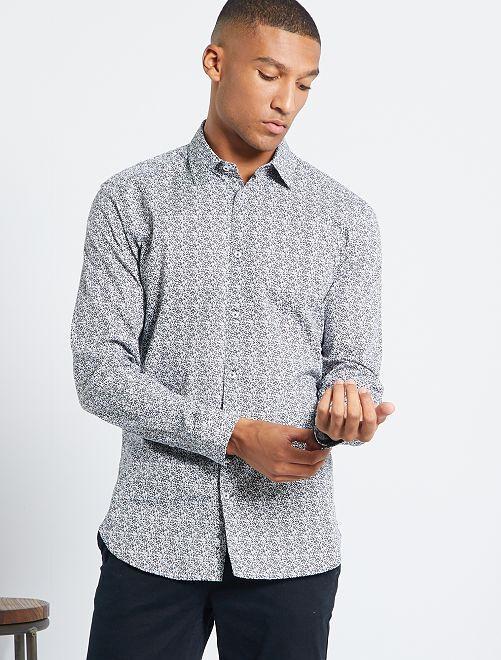 Chemise slim à micro motif                                                                 blanc/feuilles