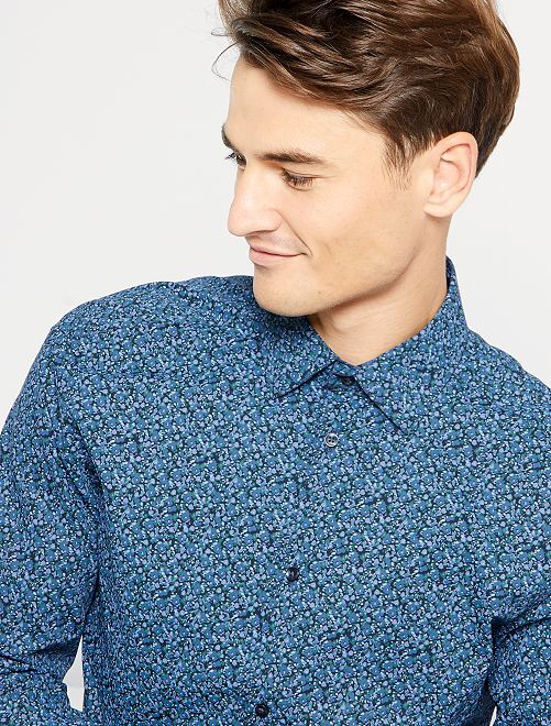 Chemise slim à micro motif                                                                 bleu/fleurs
