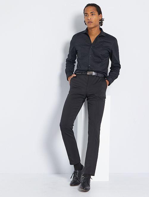 Chemise slim à plastron                                         noir