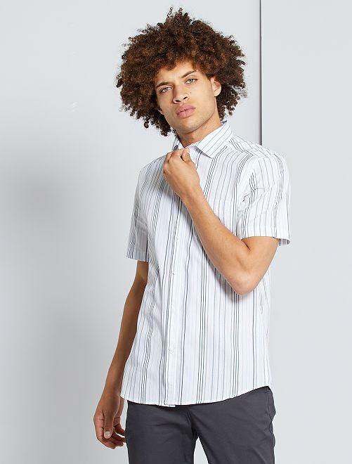 Chemise slim                                                                                                                                                                                                                                                                             blanc rayé bleu