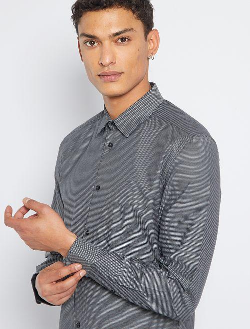 Chemise slim éco-conçue                                                                             noir/gris