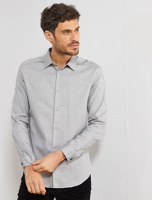 Chemise slim en coton                                                                             gris points