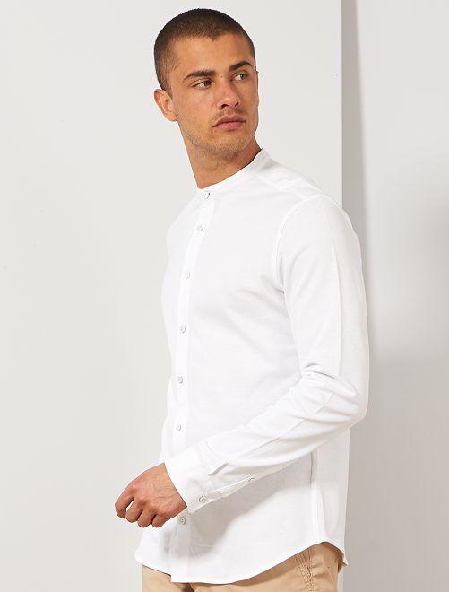 Chemise slim en piqué                                                     blanc Homme