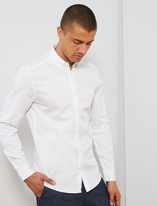 Chemise slim en piqué de coton                                         blanc Homme