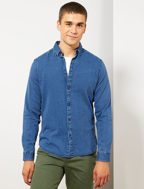 Chemise slim en piqué de coton                     bleu denim