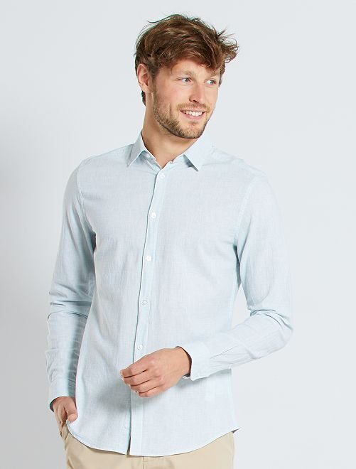 Chemise slim lin et coton                             blanc/bleu ciel