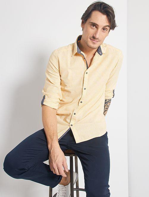 Chemise slim lin et coton                     rayé jaune/blanc