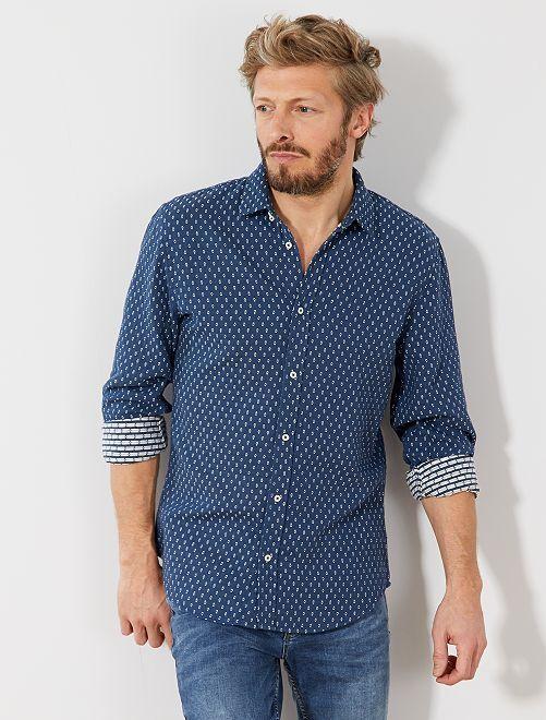 chemise slim motif jacquard homme gris kiabi 7 50. Black Bedroom Furniture Sets. Home Design Ideas