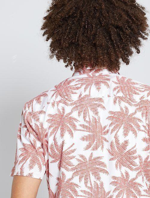 Chemise slim                                                                                                                                                                                                                                                                                                     palmiers blanc/rouge