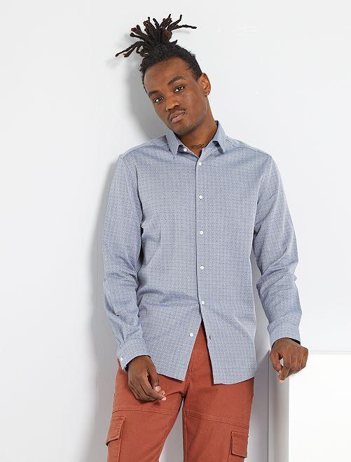 Chemise slim pur coton à motif                             GRIS