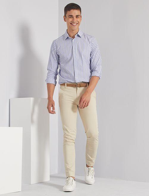 Chemise slim rayée                                                     bleu/blanc
