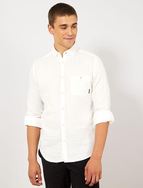 Chemise slim texturée                                                                 blanc cassé Homme