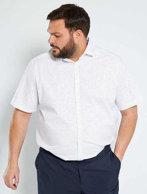Chemise stretch à pois                             blanc