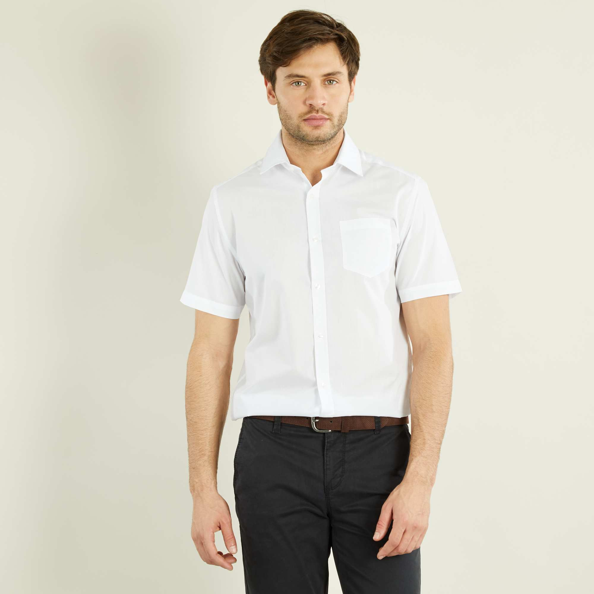 Couleur : blanc, , ,, - Taille : 37/38, , ,,Un look impeccable à petit prix ! - Chemise unie - Regular fit / coupe droite -