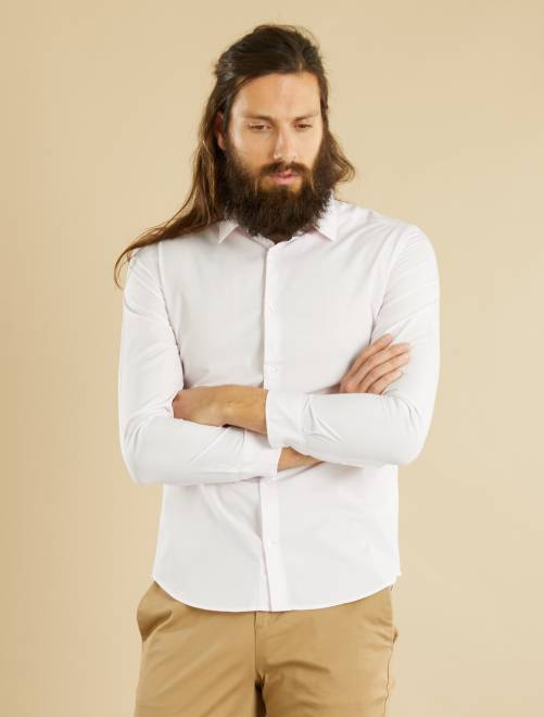 Chemise fitted en popeline à rayures et pois                                                                                 rose/blanc vichy