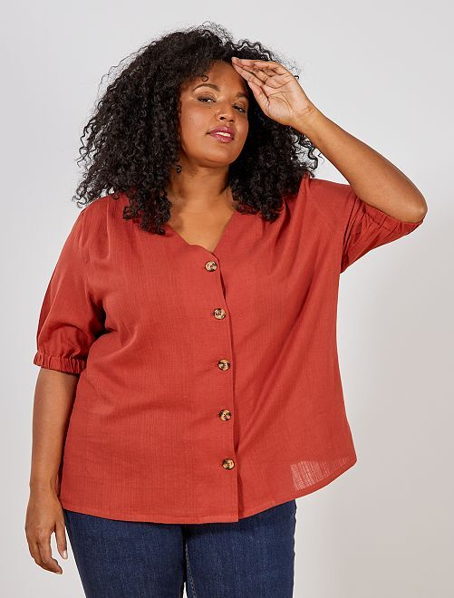 Chemisier avec gros boutons                                         rouge ocre Grande taille femme