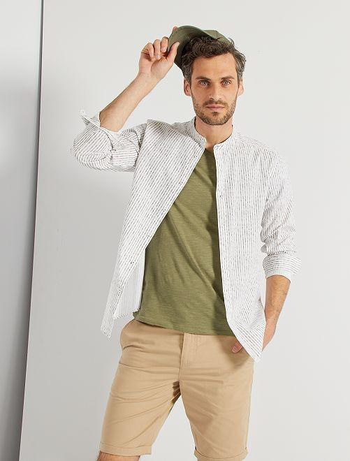 Chemsie coton tissé                             blanc/gris