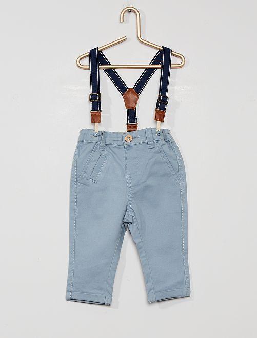 Chino à bretelles éco-conçu                                         gris bleu