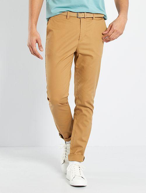 Chino skinny + ceinture                                                                             beige