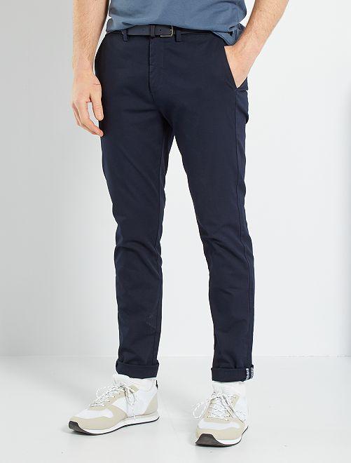 Chino skinny + ceinture                                                                             bleu marine