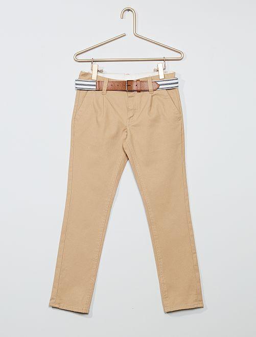 Chino slim + ceinture rayée                                                                 beige