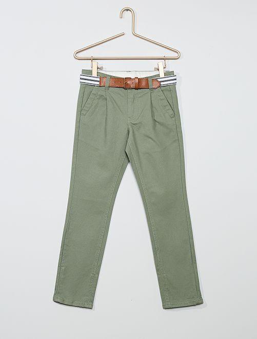 Chino slim + ceinture rayée                                                                 kaki