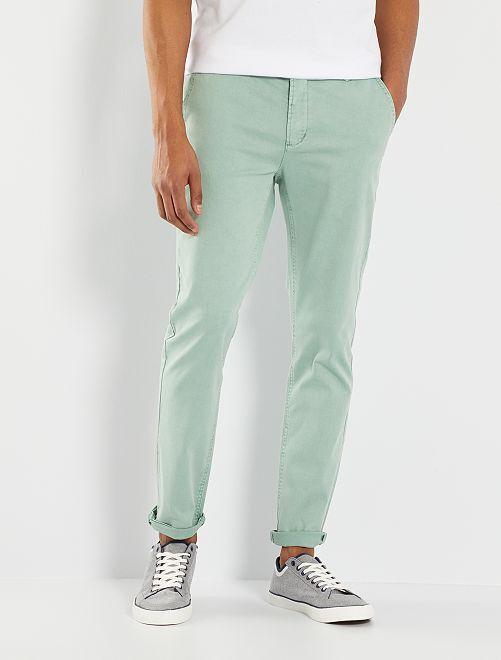 Chino slim délavé                                                     turquoise